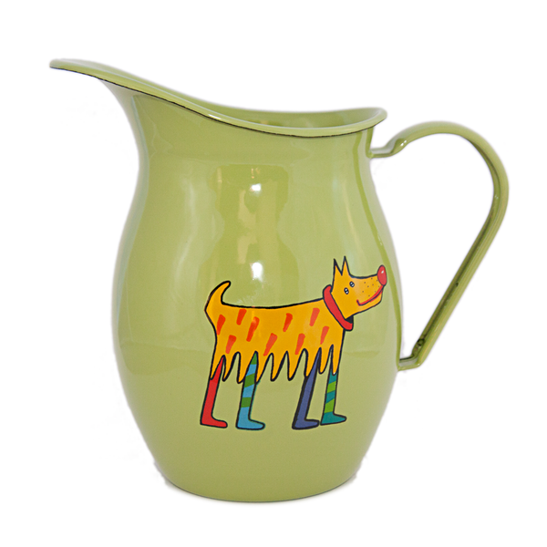 Camping Bowl, Camping, Outdoor, Enamelware, Enamel Mug, Coffee Mug, Pitcher, Gift, Cute, Animal, Dog, Light Green