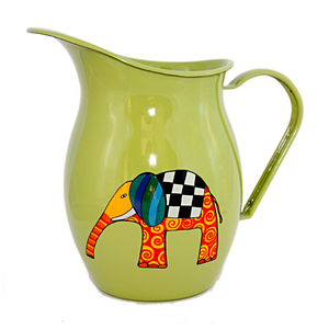 Camping Bowl, Camping, Outdoor, Enamelware, Enamel Mug, Coffee Mug, Pitcher, Gift, Cute, Animal, Elephant, Light Green