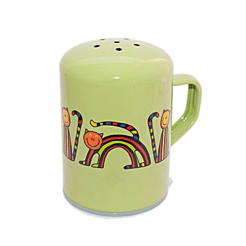 Camping Bowl, Camping, Outdoor, Enamelware, Enamel Mug, Coffee Mug, Salt and Pepper Shaker, Gift, Cute, Animal, Cat, Light Green
