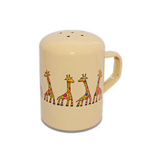 Camping Bowl, Camping, Outdoor, Enamelware, Enamel Mug, Coffee Mug, Salt and Pepper Shaker, Gift, Cute, Animal, Giraffe, Cream