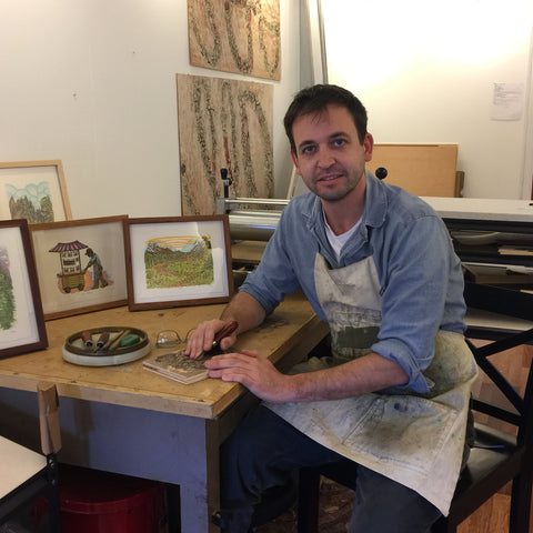 Original Color Woodcut Artist Paul Roden in Paul's Print Store