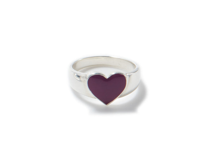 feminine sterling silver heart shape signet ring with framboise color enamel