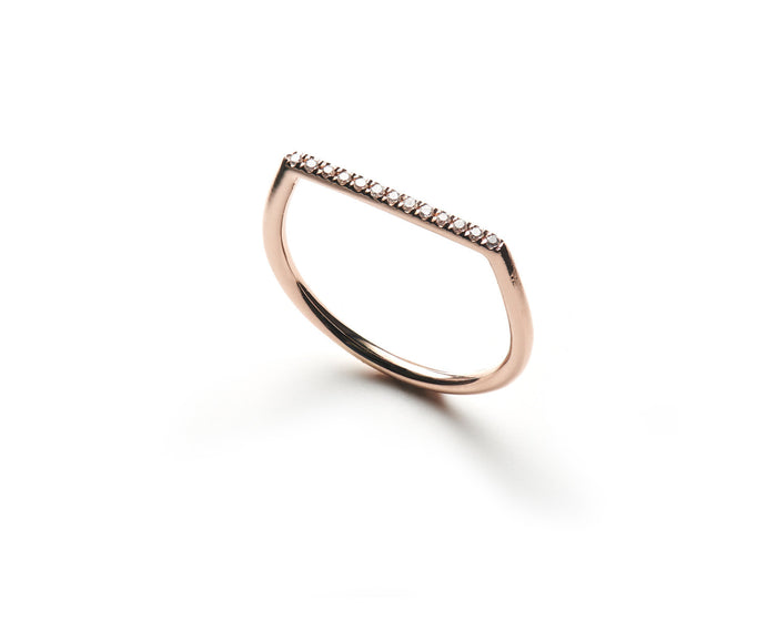 delicate and modern 14k rose gold white diamond pavé band with flat top