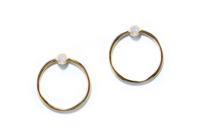 14k yellow gold circle studs with opal settings