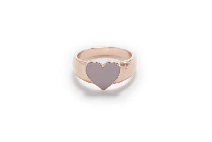 feminine 14k rose gold heart shape signet ring with petal color enamel