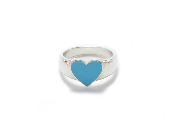feminine sterling silver heart shape signet ring with paradise blue enamel