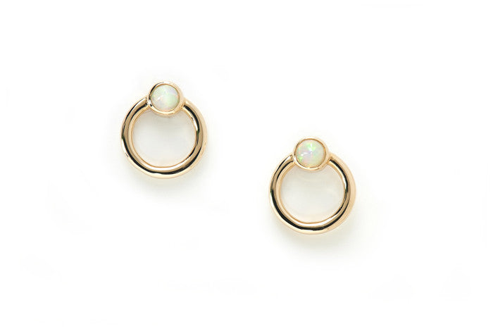14k yellow gold small circle studs with opal settings