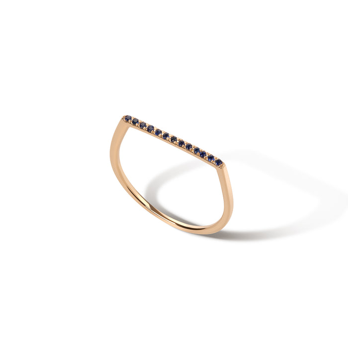delicate and modern 14k rose gold blue sapphire pavé band with flat top