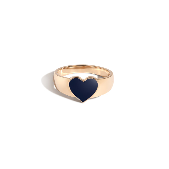 CHEVALIERE EN COEUR, MIDNIGHT BLUE, NOIR OR PETAL ENAMEL