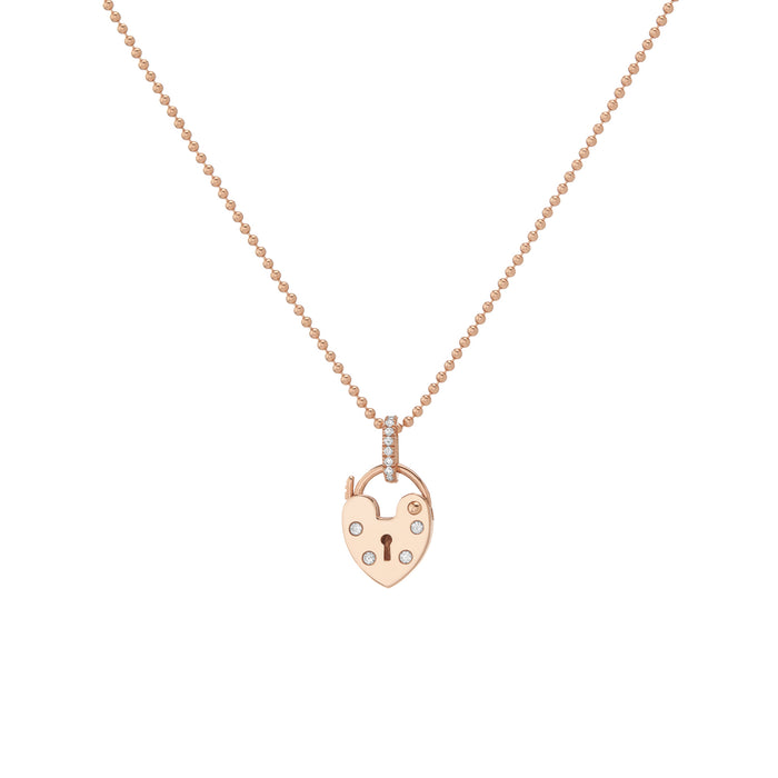 ROSE GOLD DIAMOND HEARTLOCK NECKLACE