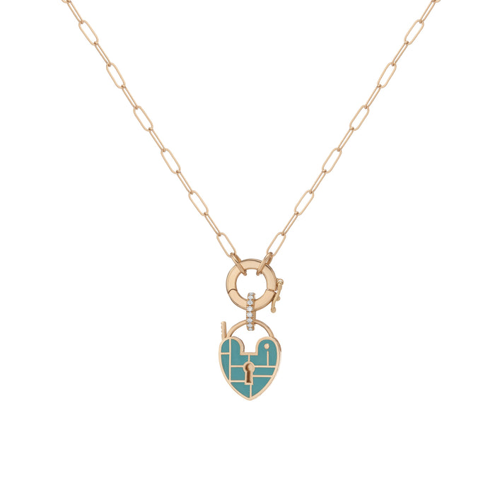 SEA FOAM PALETTE HEARTLOCK LINK NECKLACE
