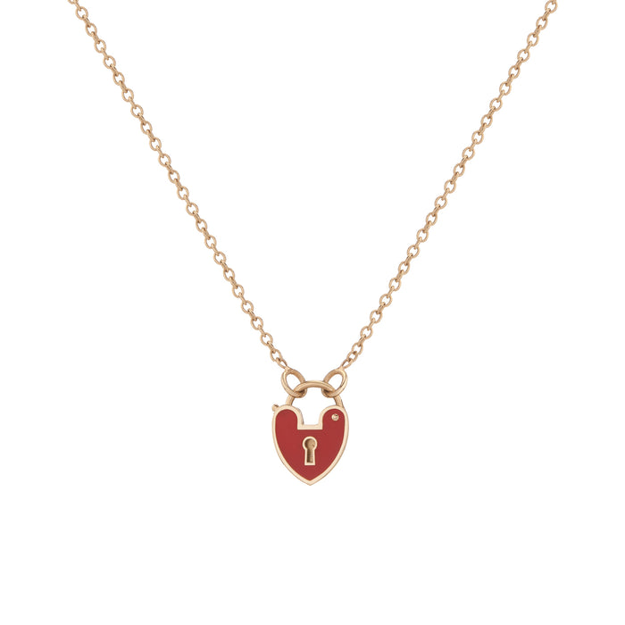 RED ENAMEL HEARTLOCK NECKLACE
