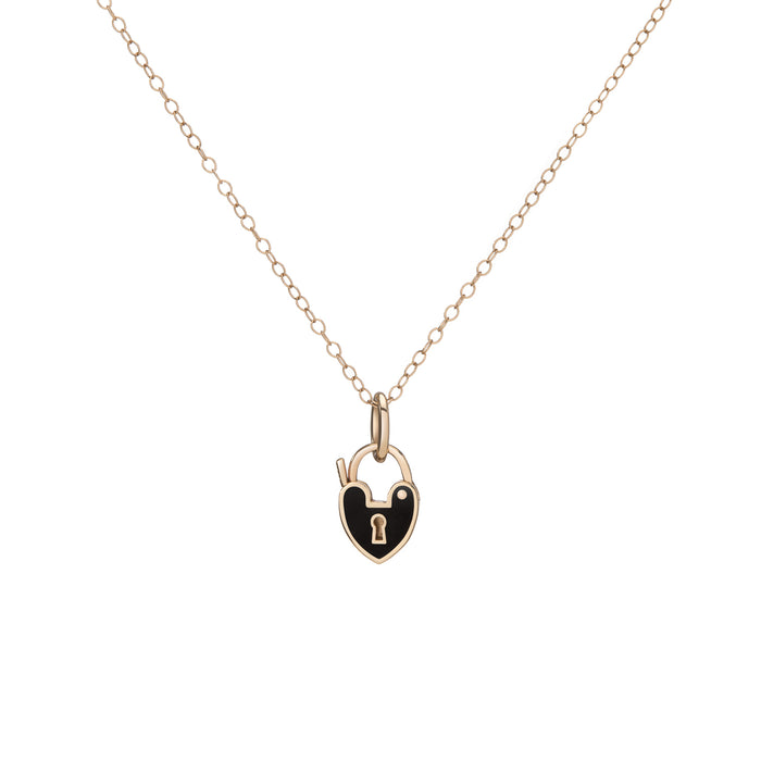 MINI BLACK HEARTLOCK NECKLACE