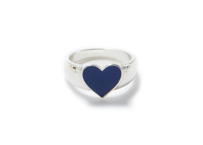 feminine sterling silver heart shape signet ring with royal blue enamel