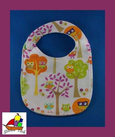 Owls on Pink Bib