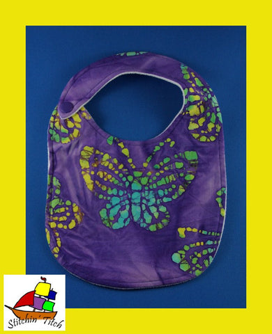Butterflies on Purple Bib