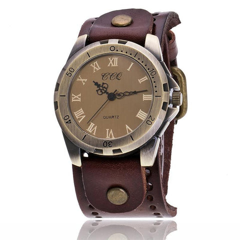 Men's Retro Roman Numeral Cow Leather Watch