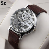 Men's Hollow Roman Numeral Faux Leather Watch