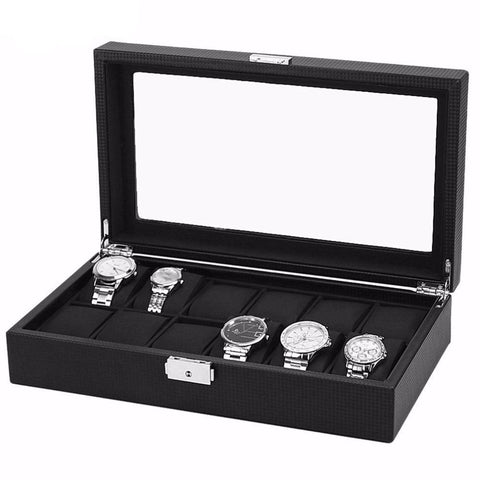 12 Watch Leather & Carbon Fiber Watch Case