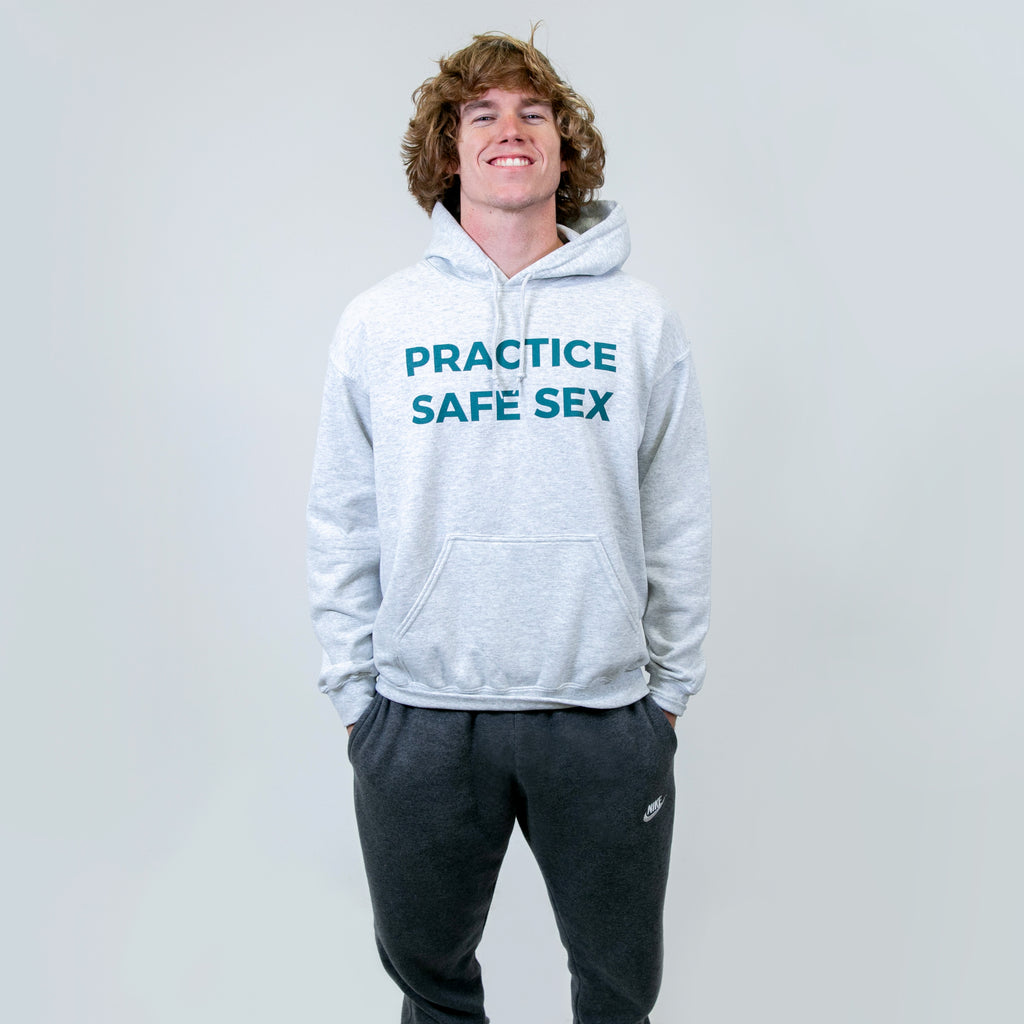 Practice Safe Sex Heather Grey Hoodie