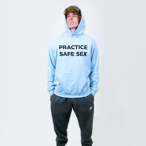 Practice Safe Sex Light Blue Hoodie