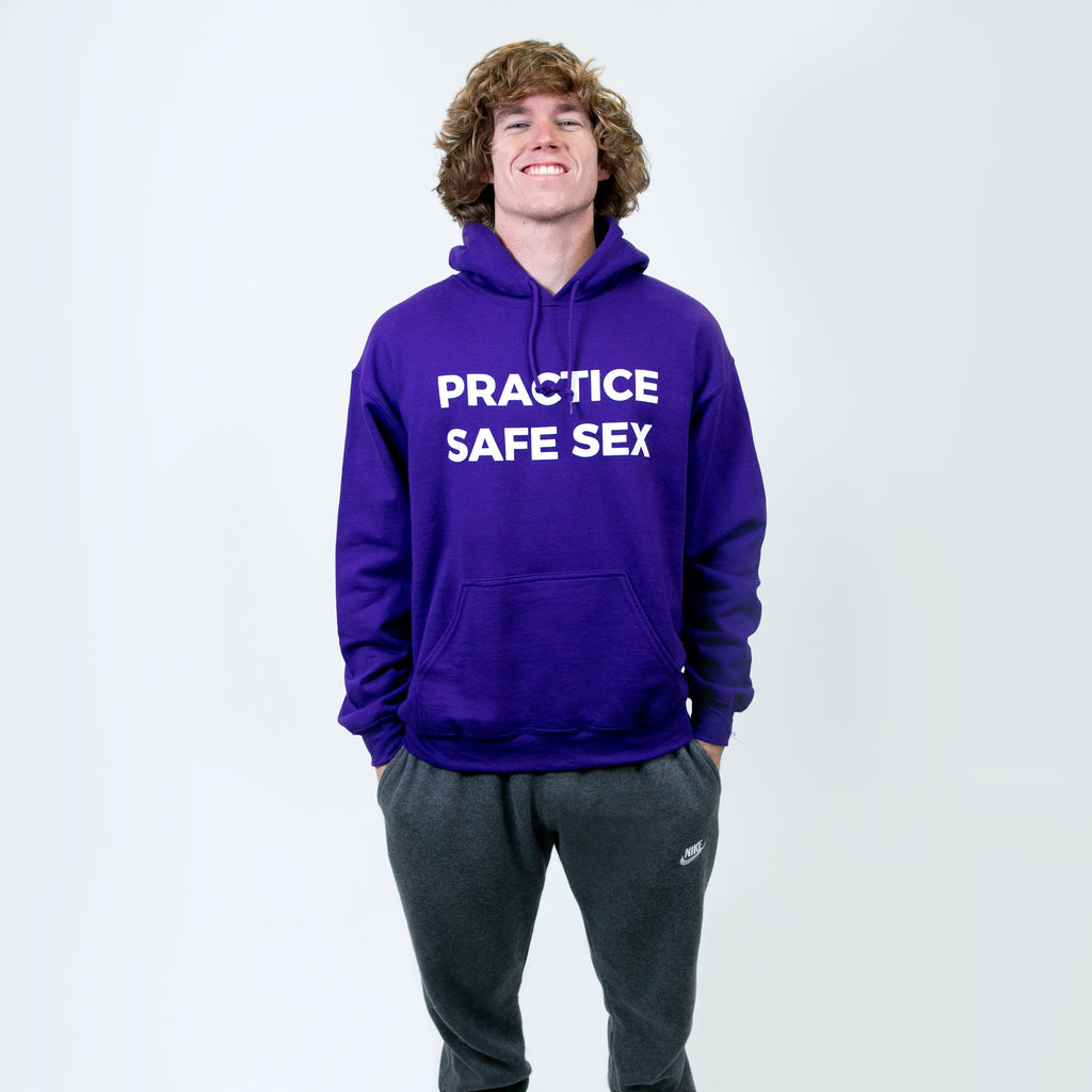 Practice Safe Sex Purple Hoodie