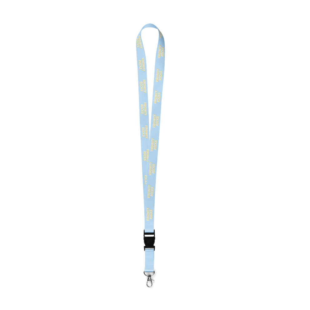 Virginity Rocks Light Blue Lanyard