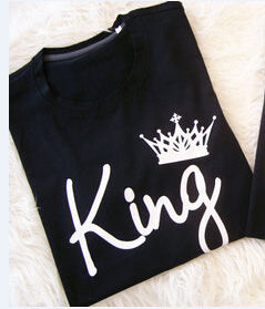 Stylish King And Queen Print Couple T-shirt