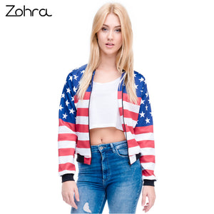 USA Flag Women Bomber Jacket
