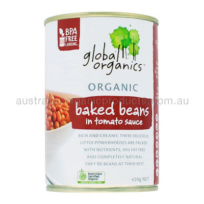 Global Organics Baked Beans In Tomato Sauce Organic (canned) 400g