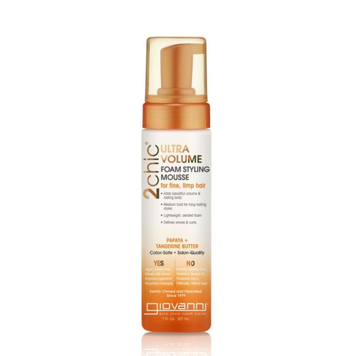 GIOVANNI Organic Styling Mousse - 2chic Ultra-Volume (Fine, Limp Hair) 207ml