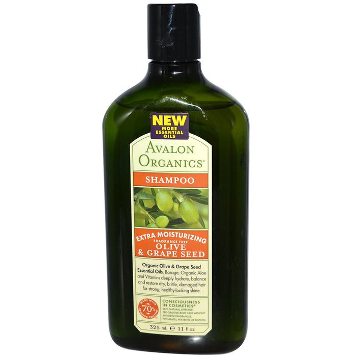Avalon Organics Extra Moisturising Hair Shampoo Fragrance Free 325mL