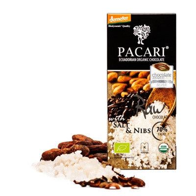Pacari Raw 70% Cacao Bar w Salt Nibs Biodynamic 50g
