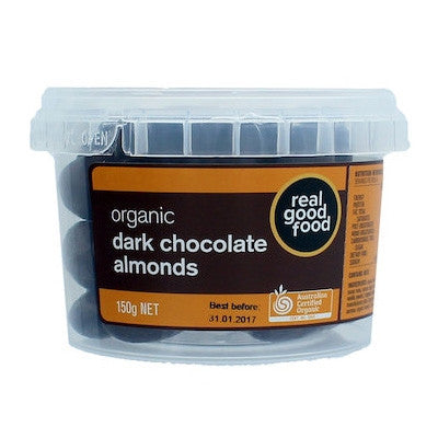 Real Good Food Dark Choc Coated Almonds 150g