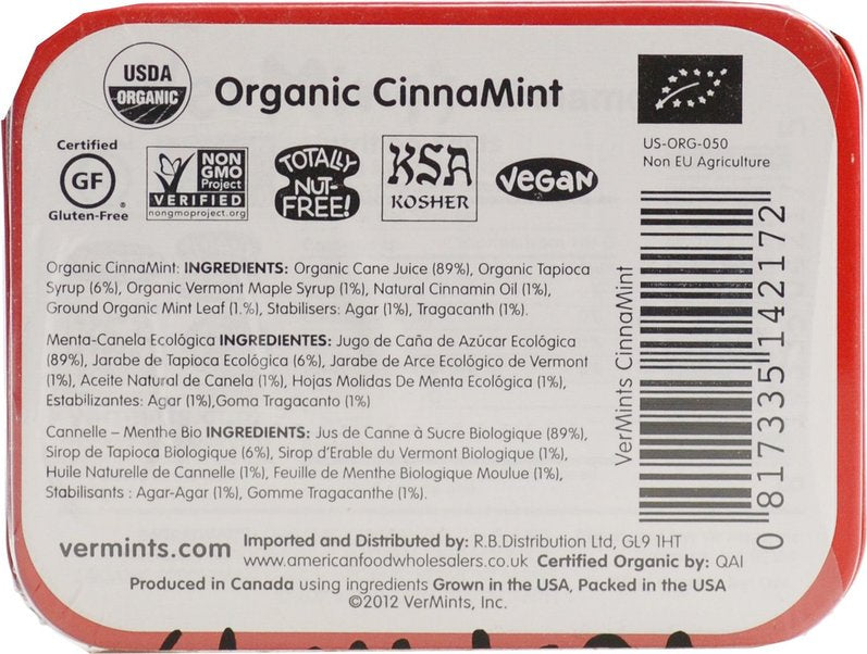 Vermints Organic Cinnamon Mints 40g