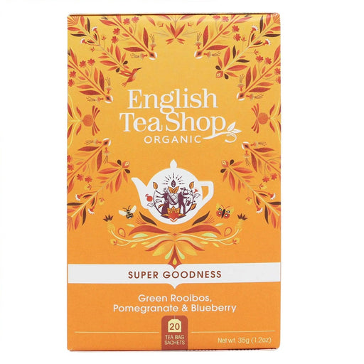 English Tea Shop Organic Green Rooibos, Pomegranate & Blueberry Leaves Teabags