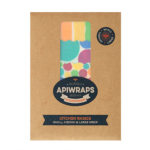 APIWRAPS Reusable Beeswax 3 Wraps- Kitchen 1 x Small, Medium & Large