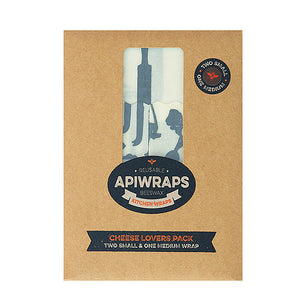 APIWRAPS Reusable Beeswax 3 Wraps- Cheese 2 x Small & 1 x Medium