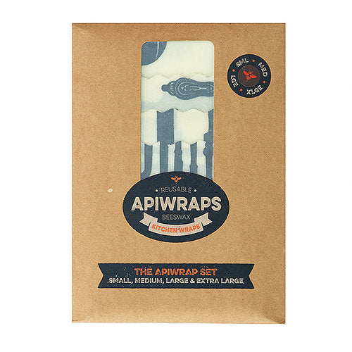 APIWRAPS Reusable Beeswax 4 Wraps- Full Set 1 x Small, Medium, Large & XL