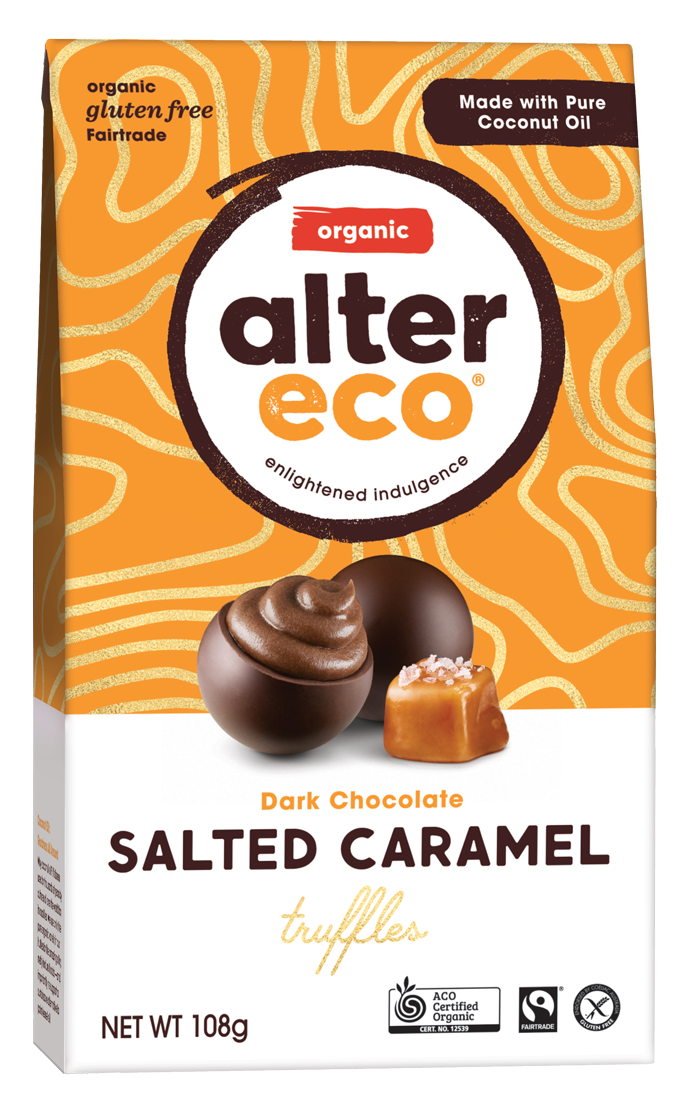 ALTER ECO Organic Chocolate Truffles Salted Caramel w Dark Chocolate (Tub of 60)