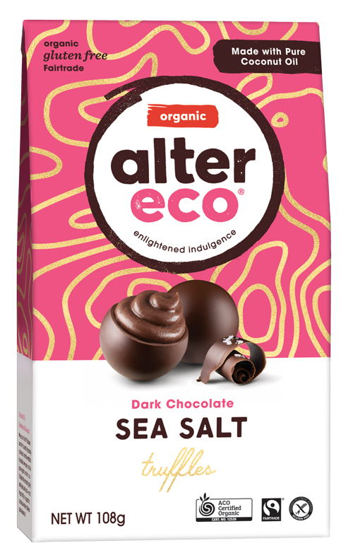 ALTER ECO Organic Chocolate Truffles Sea Salt w Dark Chocolate (Tub of 60)