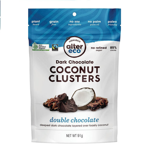 ALTER ECO Dark Chocolate Coconut Clusters Double Chocolate