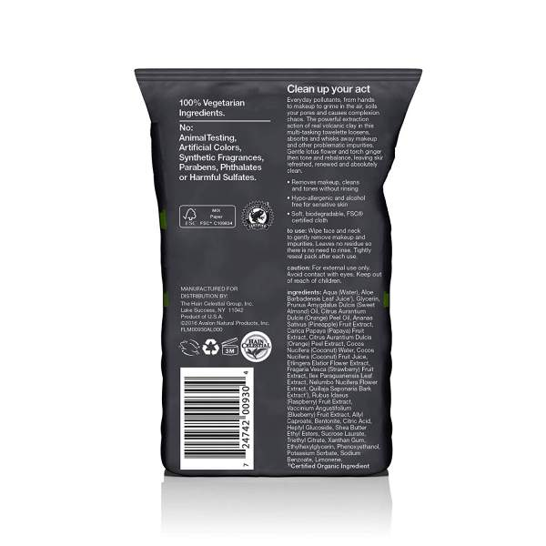 ALBA HAWAIIAN Anti-Pollution Face Wipes Towelettes w Volcanic Clay Back Side