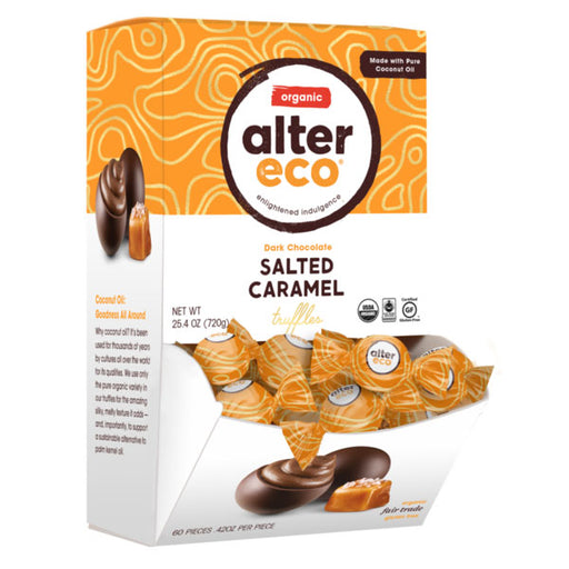 ALTER ECO Organic Salted Caramel Truffles w Dark Chocolate (Tub of 60)