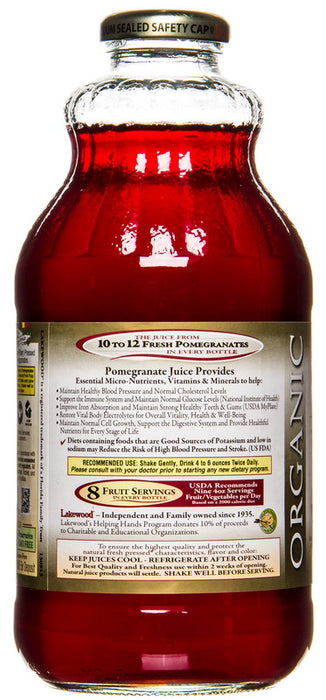 Lakewood Organic Pomegranate Juice Bottle Information