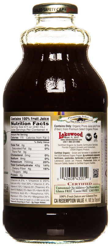 Lakewood Organic Prune Juice Nutritional Facts