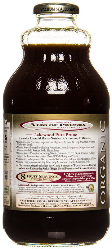 Lakewood Organic Prune Juice Bottle Information