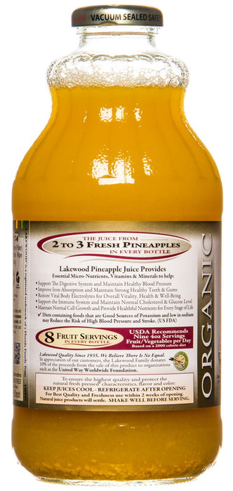 LAKEWOOD Organic Pineapple Juice Bottle Information