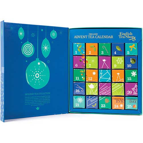 ENGLISH TEA SHOP Organic Book Style Advent Calendar Blue Inside