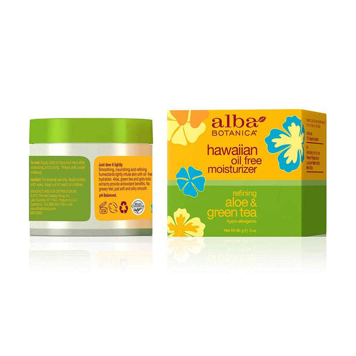 Alba Hawaiian Organic Moisturiser Aloe & Green Tea Oil-Free 85g Back